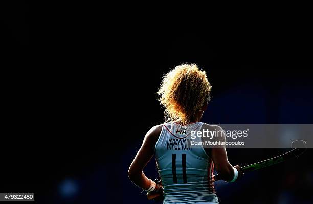 Maria Verschoor of the Netherlands in action during the Fintro Hockey World League SemiFinal match between Netherlands and Australia held at KHC...