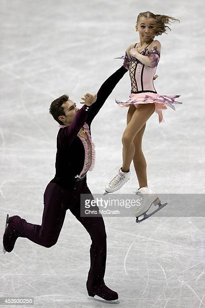 Maria Vigalova and Egor Zakroev of Russia compete in the Junior Pairs Free Skating Final during day two of the ISU Grand Prix of Figure Skating Final...