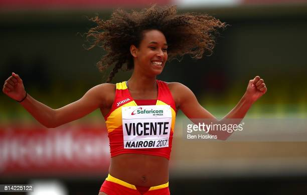 Maria Vincente of Spain celebrates clearing the bar during the high jump in the girls heptathlon on day three of the IAAF U18 World Championships at...