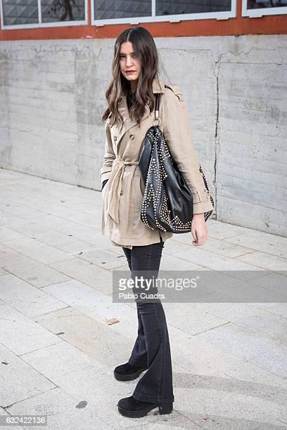 Maria wears Yokono shoes Senty trousers and Massimo Dutti coat on January 22 2017 in Madrid Spain