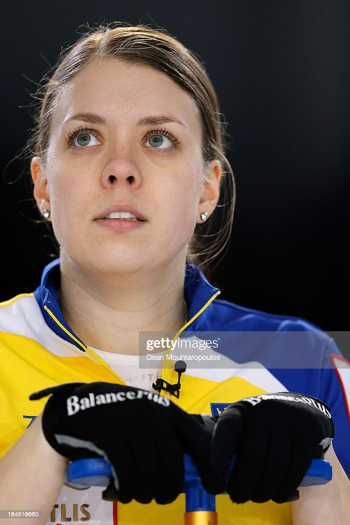 Maria Wennerstrom of Sweden looks on during the Gold medal match between Sweden and Scotland on Day 9 of the Titlis Glacier Mountain World Women's Curling Championship at the Volvo Sports Centre on March 24, 2013 in Riga, Latvia.