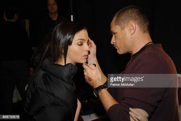 Mariacarla Boscono and Tom Pecheux in beauty at the Luca Luca Fashion Show at The Tent Bryant Park on February 8 2004 in New York City
