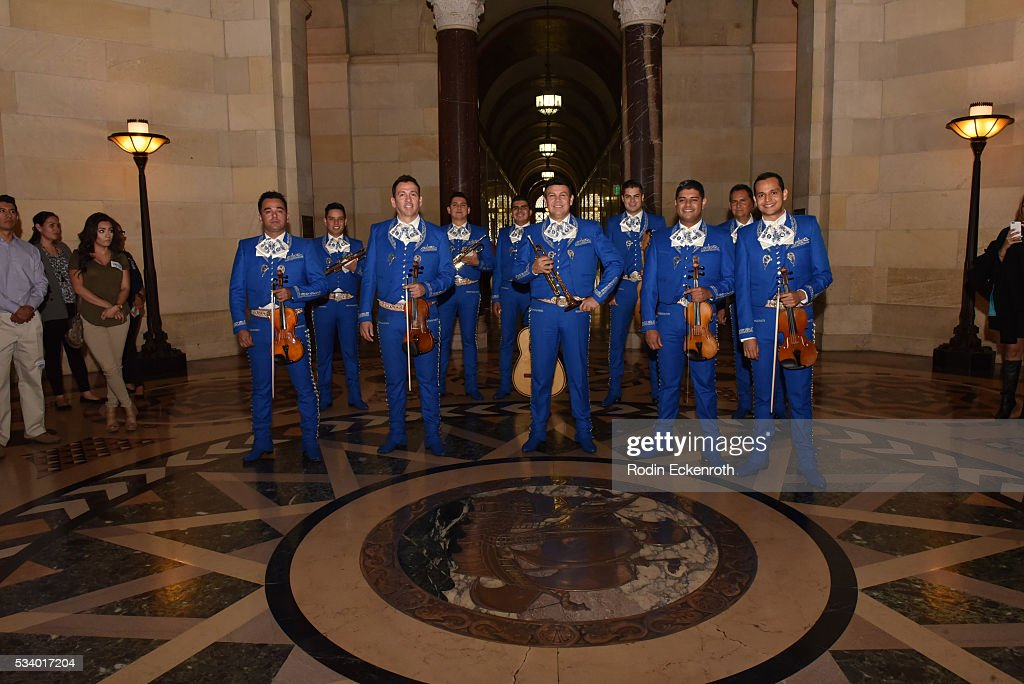 Mariachi Sol De Mexico attends The City of Los Angeles Honors Maria Celeste Arraras at Los Angeles City Hall on May 24, 2016 in Los Angeles, California.