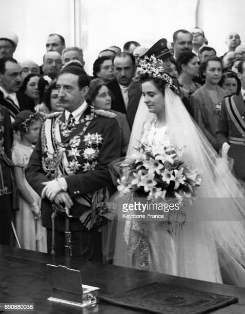 Mariage civil de Zog Ier d'Albanie et de Géraldine Apponyi à Tirana Albanie le 27 avril 1938