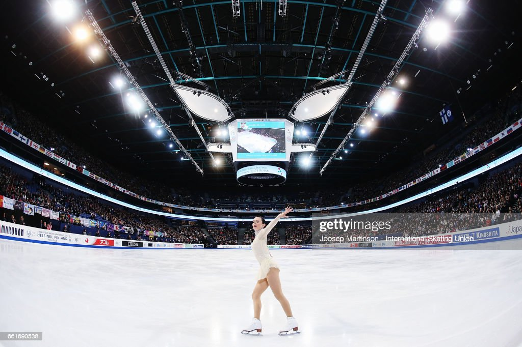 Mariah Bell of the United States competes in the Ladies Free Skating during day three of the World Figure Skating Championships at Hartwall Arena on March 31, 2017 in Helsinki, Finland.