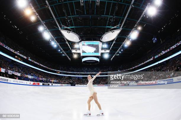 Mariah Bell of the United States competes in the Ladies Free Skating during day three of the World Figure Skating Championships at Hartwall Arena on...