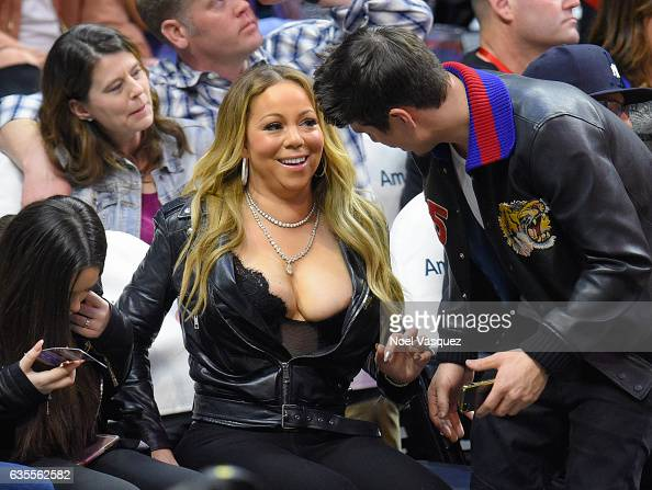 Mariah Carey and Bryan Tanaka attend a basketball game between the Atlanta Hawks and the Los Angeles Clippers at Staples Center on February 15 2017...