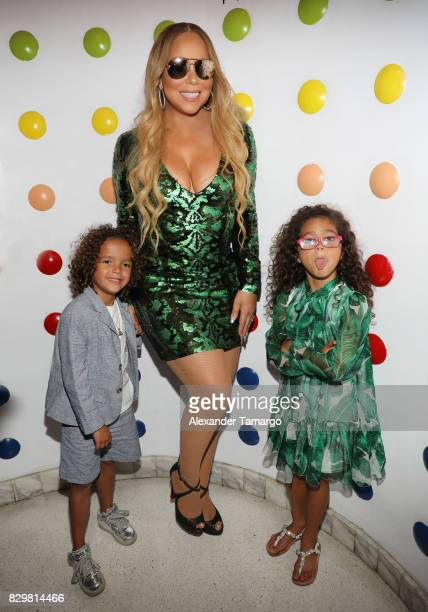 Mariah Carey and her children Moroccan and Monroe attend the Mariah Carey concert after party at Sugar Factory American Brasserie on Ocean Drive on...