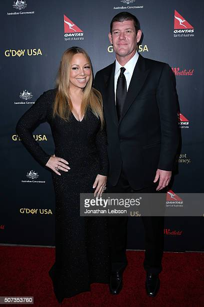 Mariah Carey and James Packer attend the 2016 G'Day Los Angeles Gala at Vibiana on January 28 2016 in Los Angeles California
