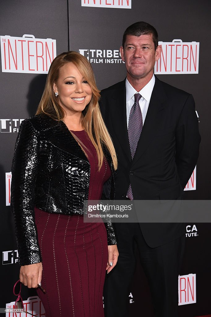 <a gi-track='captionPersonalityLinkClicked' href=/galleries/search?phrase=Mariah+Carey&family=editorial&specificpeople=171647 ng-click='$event.stopPropagation()'>Mariah Carey</a> and <a gi-track='captionPersonalityLinkClicked' href=/galleries/search?phrase=James+Packer&family=editorial&specificpeople=208645 ng-click='$event.stopPropagation()'>James Packer</a> attend 'The Intern' New York Premiere at Ziegfeld Theater on September 21, 2015 in New York City.