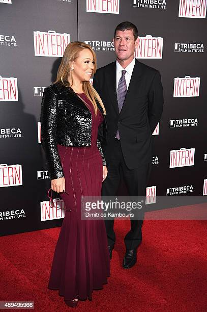 Mariah Carey and James Packer attend 'The Intern' New York Premiere at Ziegfeld Theater on September 21 2015 in New York City