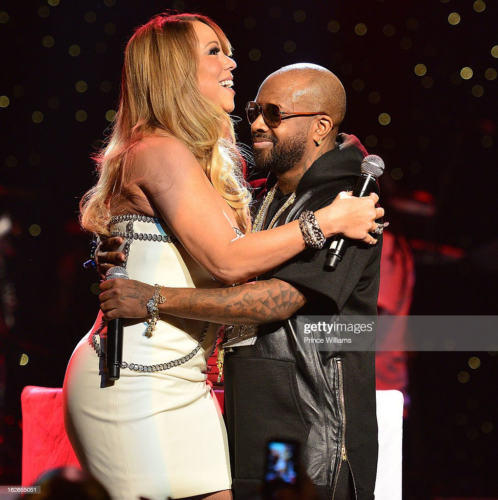Mariah Carey and JErmain Dupri on stage at the So So Def 20th anniversary concert at the Fox Theater on February 23, 2013 in Atlanta, Georgia.