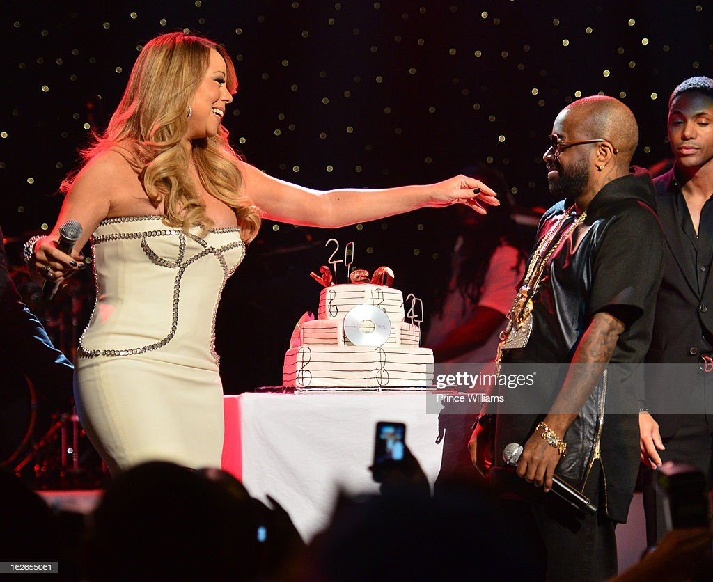 <a gi-track='captionPersonalityLinkClicked' href=/galleries/search?phrase=Mariah+Carey&family=editorial&specificpeople=171647 ng-click='$event.stopPropagation()'>Mariah Carey</a> and <a gi-track='captionPersonalityLinkClicked' href=/galleries/search?phrase=Jermaine+Dupri&family=editorial&specificpeople=201712 ng-click='$event.stopPropagation()'>Jermaine Dupri</a> on stage at the So So Def 20th anniversary concert at the Fox Theater on February 23, 2013 in Atlanta, Georgia.