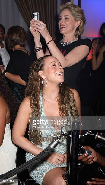 Mariah Carey and Sharon Stone attend the Jam Session at the Grand Opening of the new OneOnly Cape Town resort on April 2 2009 in Cape Town South...