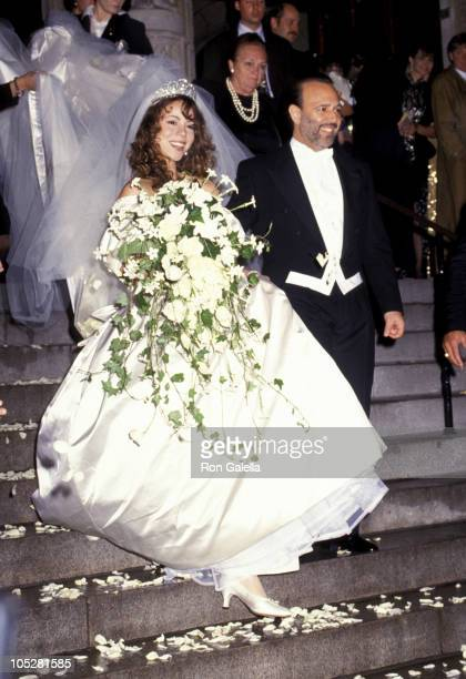 Mariah Carey and Tommy Mottola during Wedding of Mariah Carey and Tommy Mottola at St Thomas Episcopal Church/Metropolitan Club in New York City NY...