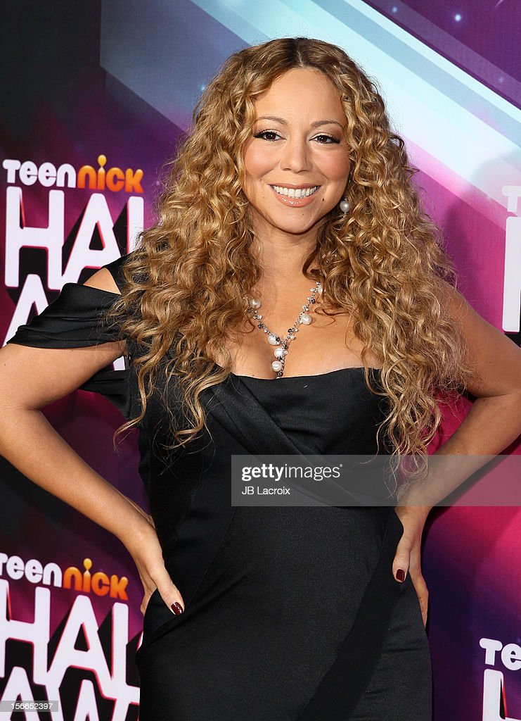 <a gi-track='captionPersonalityLinkClicked' href=/galleries/search?phrase=Mariah+Carey&family=editorial&specificpeople=171647 ng-click='$event.stopPropagation()'>Mariah Carey</a> arrives at Nickelodeon's 2012 TeenNick HALO Awards at The Hollywood Palladium on November 17, 2012 in Los Angeles, California.