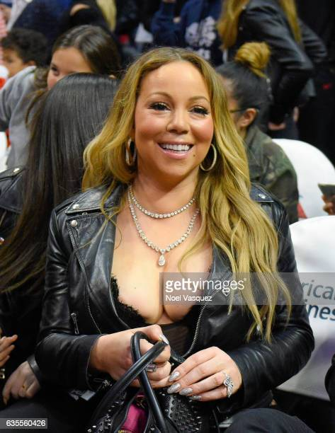 Mariah Carey attends a basketball game between the Atlanta Hawks and the Los Angeles Clippers at Staples Center on February 15 2017 in Los Angeles...