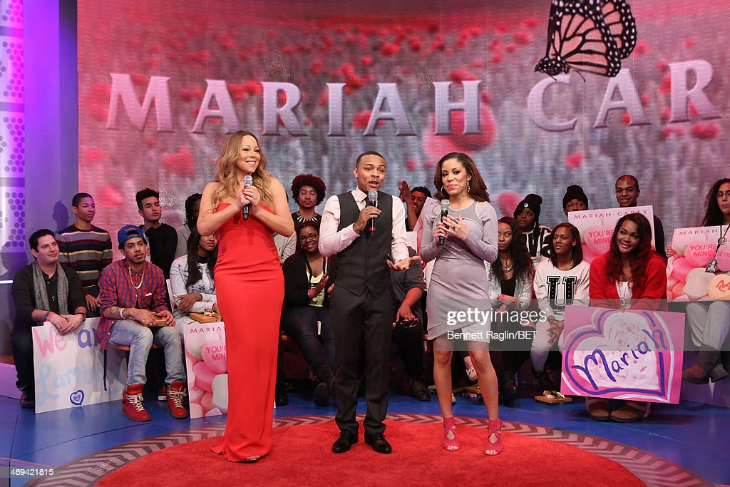 <a gi-track='captionPersonalityLinkClicked' href=/galleries/search?phrase=Mariah+Carey&family=editorial&specificpeople=171647 ng-click='$event.stopPropagation()'>Mariah Carey</a>, <a gi-track='captionPersonalityLinkClicked' href=/galleries/search?phrase=Bow+Wow+-+Rapper&family=editorial&specificpeople=211211 ng-click='$event.stopPropagation()'>Bow Wow</a>, and Keshia Chante attend 106 & Park at BET studio on February 11, 2014 in New York City.