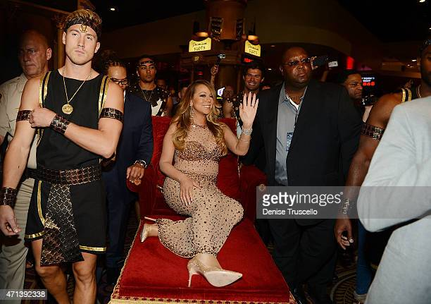 Mariah Carey celebrates her official arrival at Caesars Palace on April 27 2015 in Las Vegas Nevada