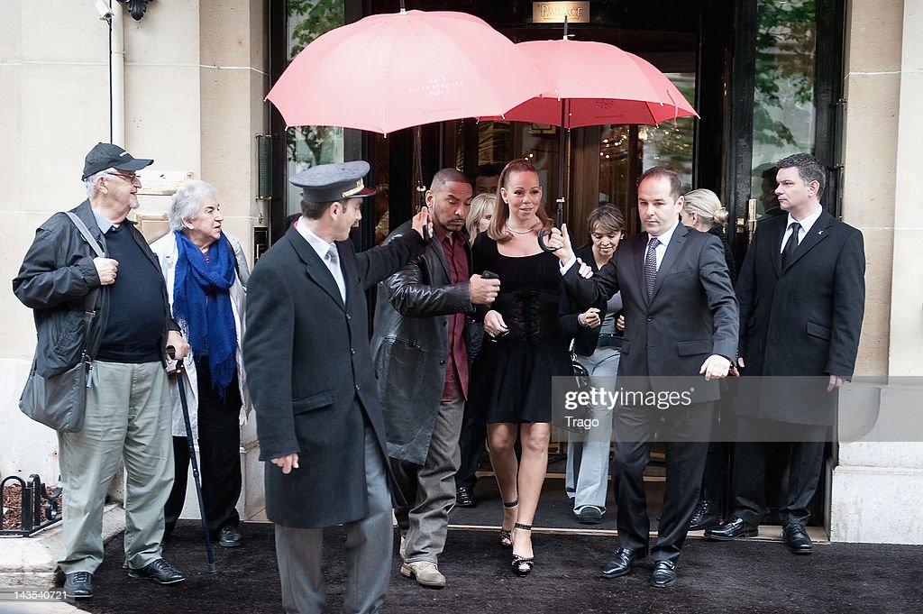 Mariah Carey leaves Plaza Athenee Hotel on April 28 2012 in Paris France