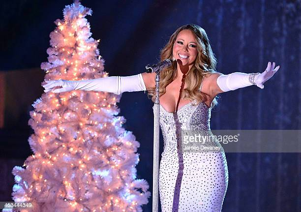 Mariah Carey performs at the 81st Annual Rockefeller Center Christmas Tree Lighting PreTape at Rockefeller Center on December 3 2013 in New York City