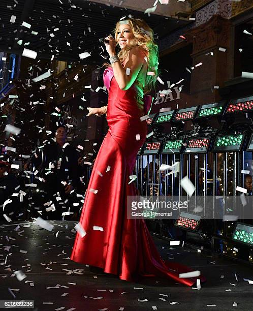 Mariah Carey performs at The Hudson's Bay And Saks Fifth Avenue Holiday Window Unveiling Presented By MasterCard at Hudson's Bay on November 3 2016...