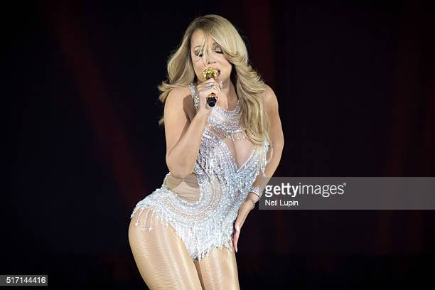 Mariah Carey performs on stage at The O2 Arena on March 23 2016 in London England