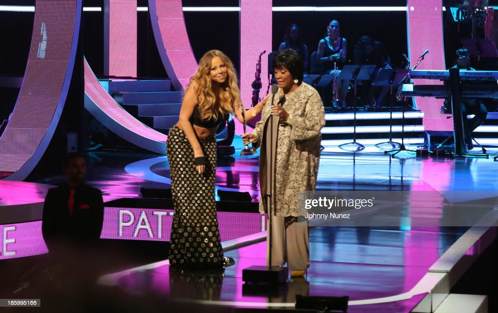 <a gi-track='captionPersonalityLinkClicked' href=/galleries/search?phrase=Mariah+Carey&family=editorial&specificpeople=171647 ng-click='$event.stopPropagation()'>Mariah Carey</a> presents <a gi-track='captionPersonalityLinkClicked' href=/galleries/search?phrase=Patti+LaBelle&family=editorial&specificpeople=203302 ng-click='$event.stopPropagation()'>Patti LaBelle</a> with the Living Legend Award during Black Girls Rock! 2013 at New Jersey Performing Arts Center on October 26, 2013 in Newark, New Jersey.