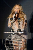 Mariah Carey receives an award during the ceremony of the World Music Awards at Sporting MonteCarlo on May 27 2014 in MonteCarlo Monaco