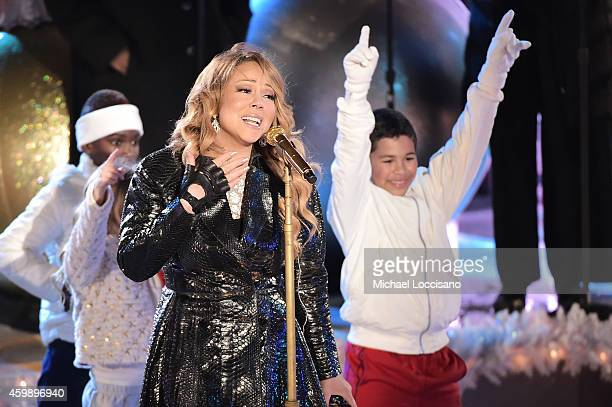 Mariah Carey rehearses for the 82nd annual Rockefeller Christmas Tree Lighting Ceremony at Rockefeller Center on December 3 2014 in New York City