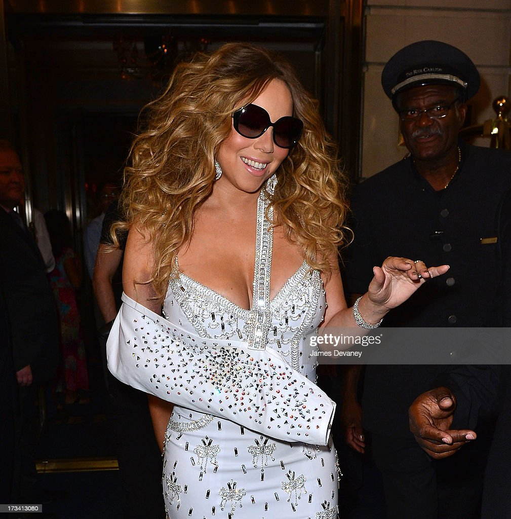 <a gi-track='captionPersonalityLinkClicked' href=/galleries/search?phrase=Mariah+Carey&family=editorial&specificpeople=171647 ng-click='$event.stopPropagation()'>Mariah Carey</a> seen leaving the Ritz-Carlton on July 12, 2013 in New York City.
