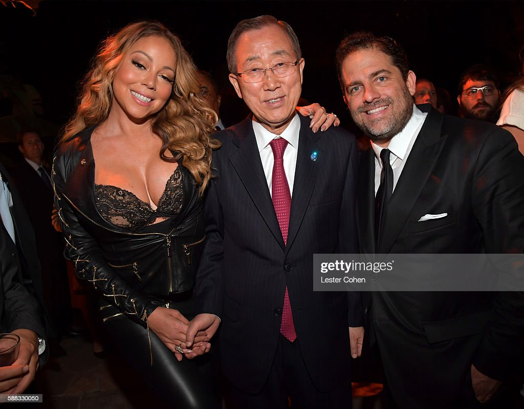 Mariah Carey, UN Secretary-General Ban Ki-moon and host Brett Ratner attend the special event for UN Secretary-General Ban Ki-moon hosted by Brett Ratner and David Raymond at Hilhaven Lodge on August 10, 2016 in Los Angeles, California.