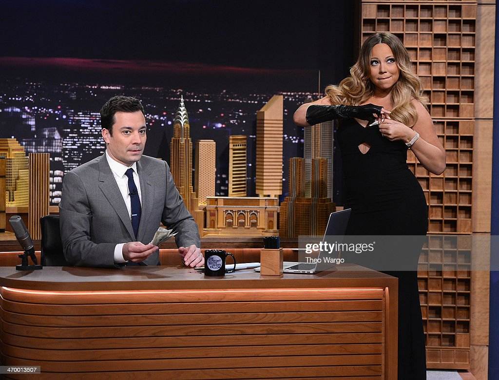 <a gi-track='captionPersonalityLinkClicked' href=/galleries/search?phrase=Mariah+Carey&family=editorial&specificpeople=171647 ng-click='$event.stopPropagation()'>Mariah Carey</a> visits 'The Tonight Show Starring <a gi-track='captionPersonalityLinkClicked' href=/galleries/search?phrase=Jimmy+Fallon&family=editorial&specificpeople=171520 ng-click='$event.stopPropagation()'>Jimmy Fallon</a>' at Rockefeller Center on February 17, 2014 in New York City.