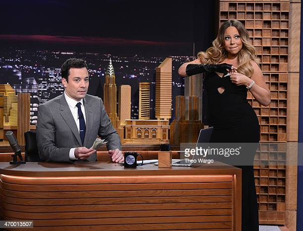 Mariah Carey visits 'The Tonight Show Starring Jimmy Fallon' at Rockefeller Center on February 17 2014 in New York City