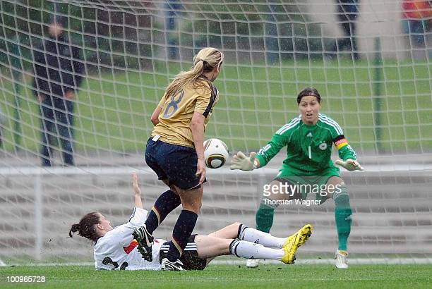 Mariah Nogueira of United States scores her team's first goal during the U23 international friendly match between Germany and USA at Georg Gassmann...