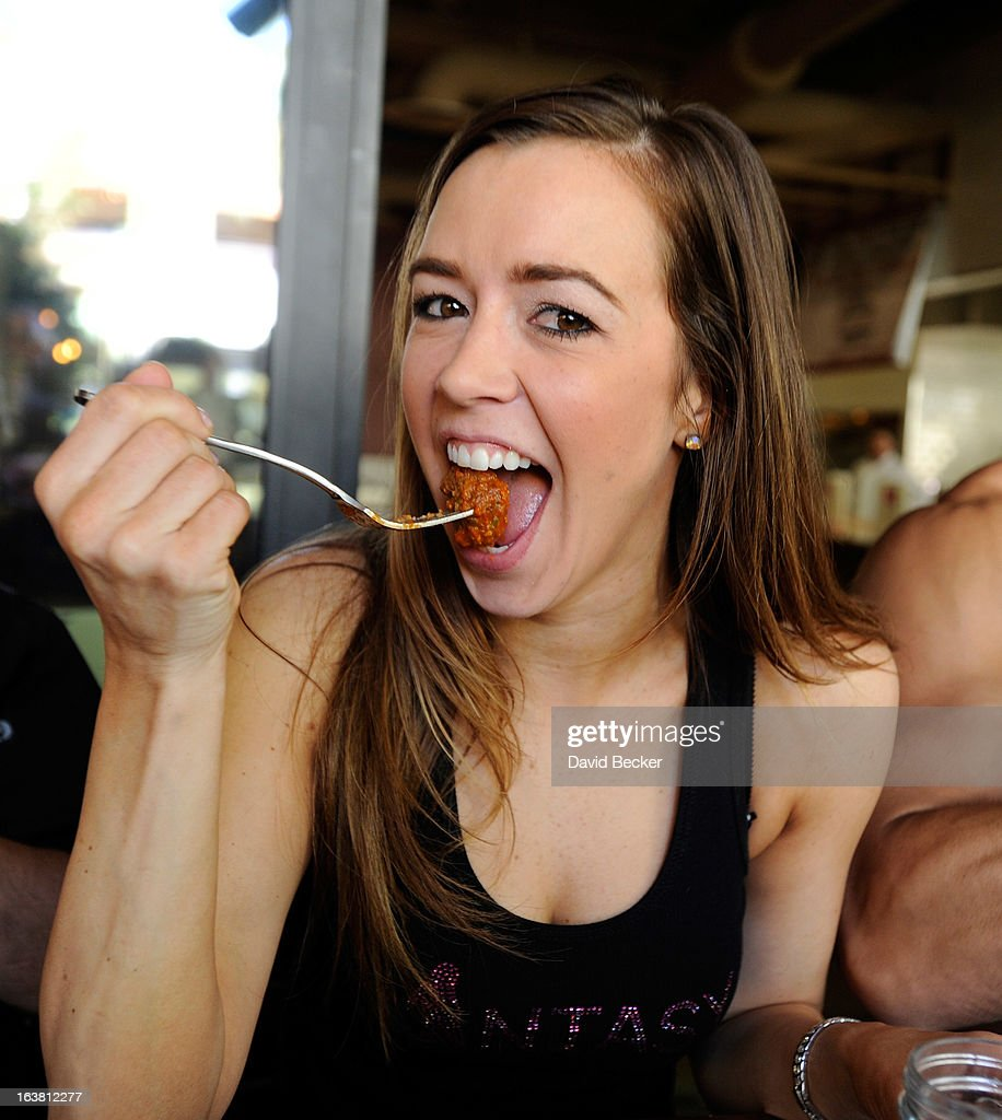 Mariah of the production show 'Fantasy' appears at the meatball eating contest at the Meatball Spot on March 16, 2013 in Las Vegas, Nevada.