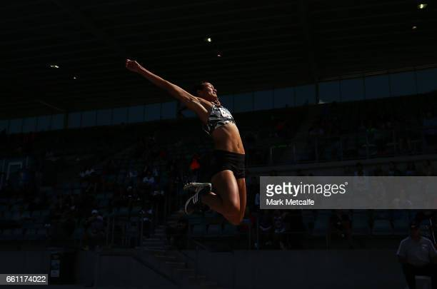Mariah Ririnui of New Zealand competes in the womens open long jump during day six of the Australian Athletics Championships at Sydney Olympic Park...