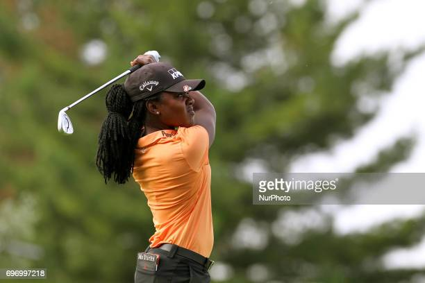 Mariah Stackhouse of Riverdale Georgia follows her shot from the 12th tee during the second round of the Meijer LPGA Classic golf tournament at...