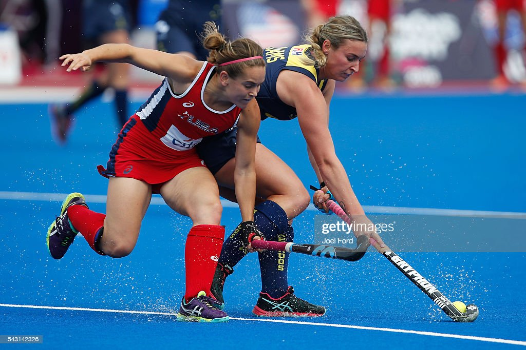 Mariah Williams of Australia and Alyssa Manley of the USA battle for the ball during the FIH Women's Hockey Champions Trophy 2016 match between Australia and the United States at Queen Elizabeth Olympic Park on June 26, 2016 in London, England.
