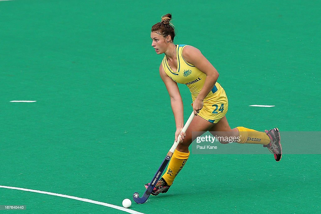 Mariah Williams works the ball up the field during the International Test match between the Australian Hockeyroos and Korea at Perth Hockey Stadium on April 27, 2013 in Perth, Australia.