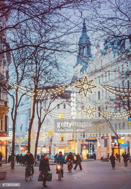 Mariahilfer Street at Christmas Time.