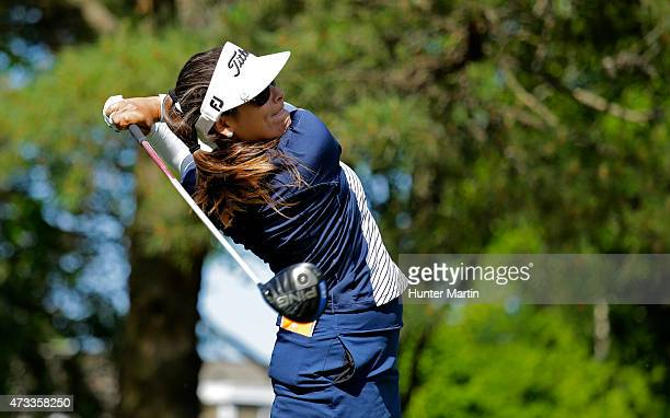 Mariajo Uribe hits her tee shot on the ninth hole during the first round of the Kingsmill Championship presented by JTBC on the River Course at...