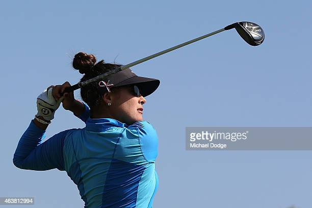 Mariajo Uribe of Colombia hits a tee shot on the 12th tee during day one of the LPGA Australian Open at Royal Melbourne Golf Course on February 19...