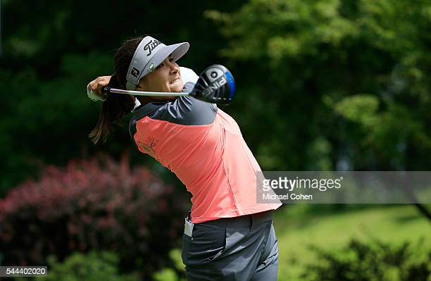 Mariajo Uribe of Colombia hits her drive on the fourth hole during the fourth and final round of the Cambia Portland Classic held at Columbia...
