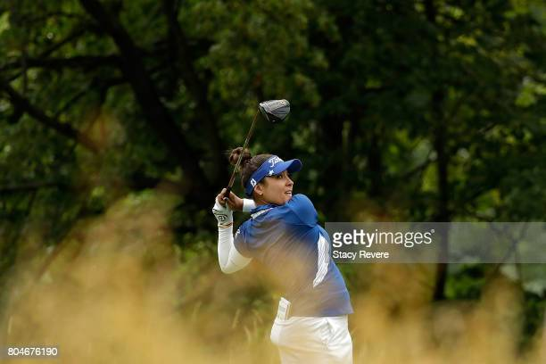 Mariajo Uribe of Colombia hits her tee shot on the fifth hole during the second round of the 2017 KPMG PGA Championship at Olympia Fields on June 30...
