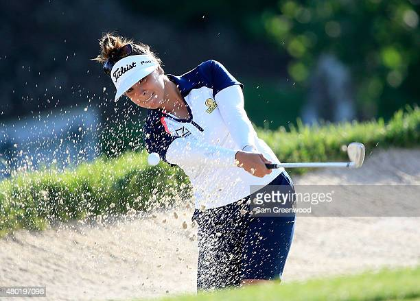 Mariajo Uribe of Colombia plays a shot on the eighth hole during the continuation of the first round of the US Women's Open at Lancaster Country Club...