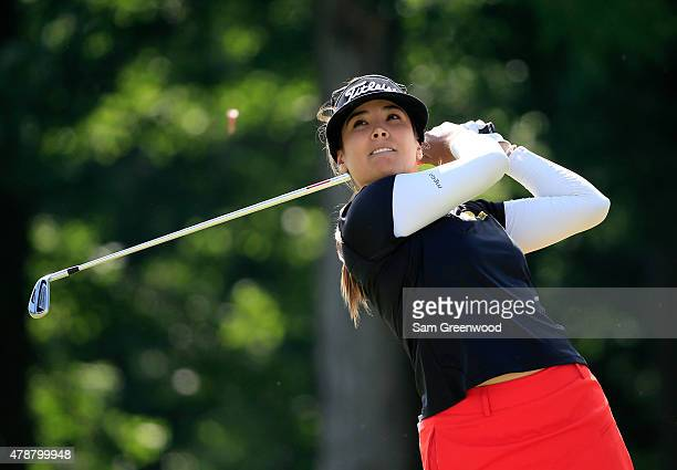 Mariajo Uribe of Colombia plays a shot on the third hole during the second round of the Walmart NW Arkansas Championship Presented by PG at Pinnacle...