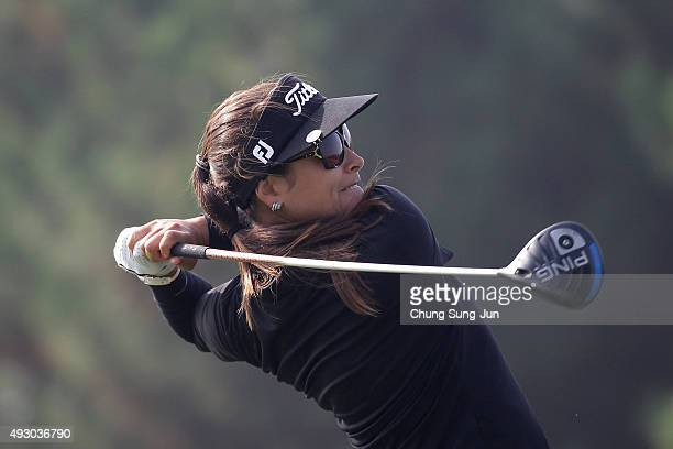 Mariajo Uribe of Colombia plays a tee shot on the 2nd hole during round three of the LPGA KEB HanaBank on October 17 2015 in Incheon South Korea