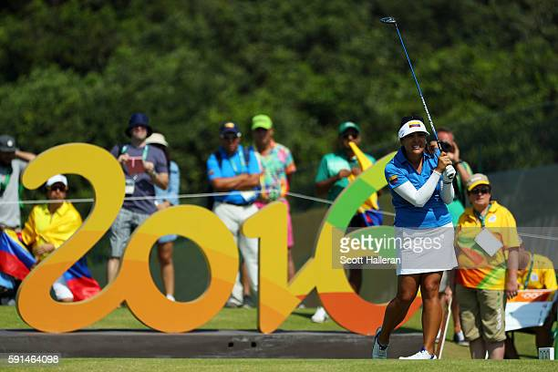 Mariajo Uribe of Colombia plays her shot from the 16th tee during the First Round of Women's Golf on Day 12 of the Rio 2016 Olympic Games at Olympic...