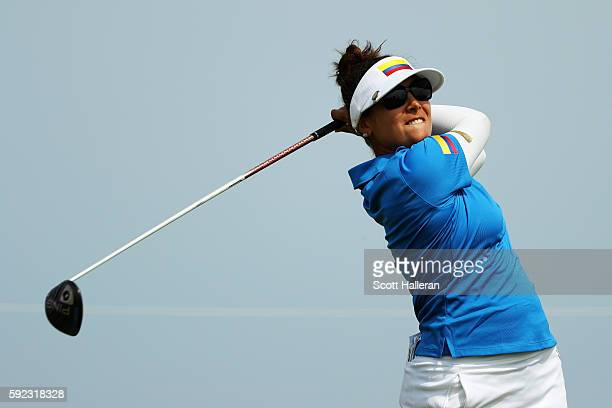 Mariajo Uribe of Colombia plays her shot from the ninth tee during the Women's Golf Final on Day 15 of the Rio 2016 Olympic Games at the Olympic Golf...